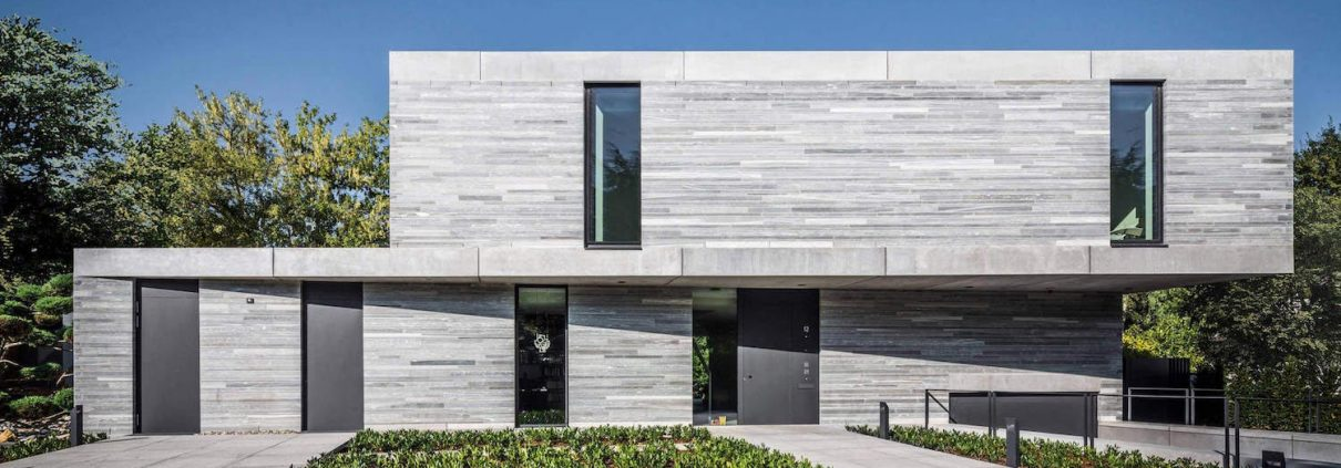 Contemporary house in Germany built out of grey Quatrzite matte stone