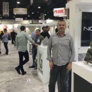 Chris from Nova Stone, representing one of many Brazilian stone companies at the Atlanta Trade Show