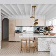Marble and Wood kitchen designs