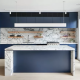 Blue Cabinetry and Veined Marble